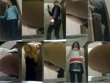 EgoisteWC 103-115 Young girls take off their panties and piss on a hidden camera