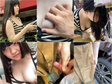 [4K]エッチな交渉】巨乳女子にお金渡しておっぱいお触り&手コキぶっかけ