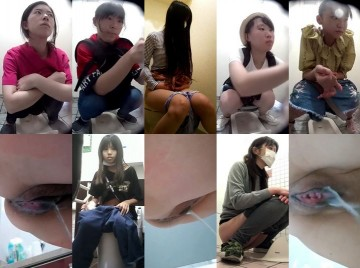 某コンビニトイレエス型限定, 熟女ト〇レ_01, 極太うんちいきみ声がエロい, 黒髪女の着替え&トイレ